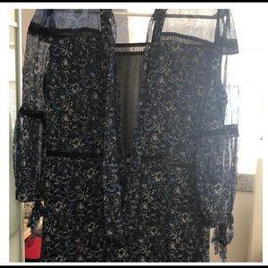 Elie Tahari Blue Chiffon Dress